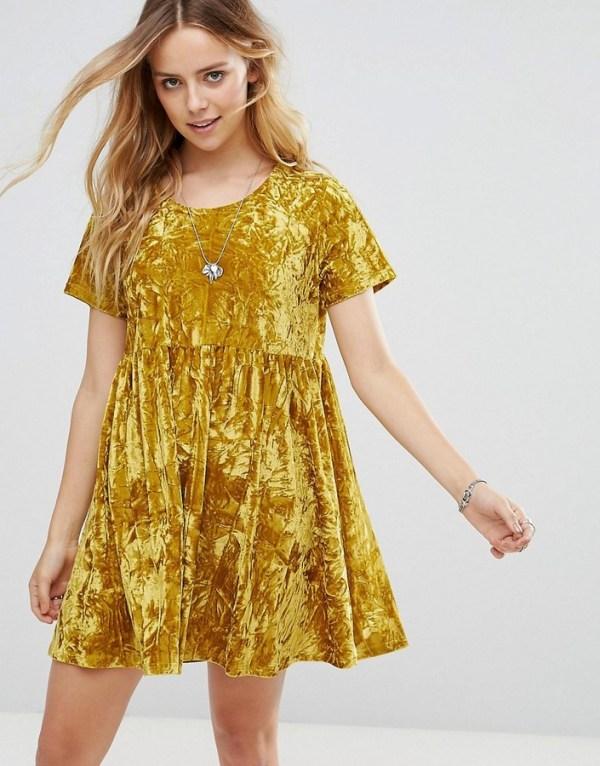 Glamorous Smock Dress In Crushed Velvet