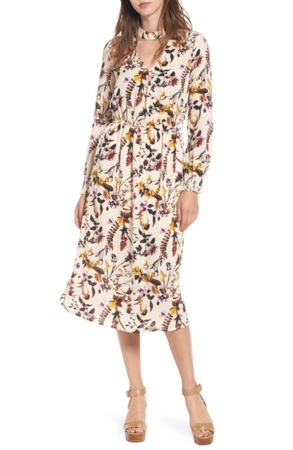Love Fire Gigi Floral Surplice Midi Dress