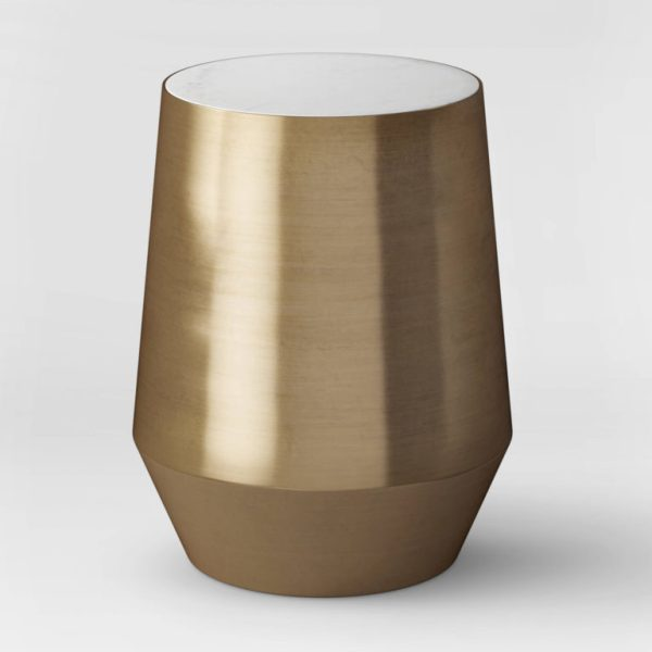 Mawr Metal Accent Table White Marble Gold - Project 62™