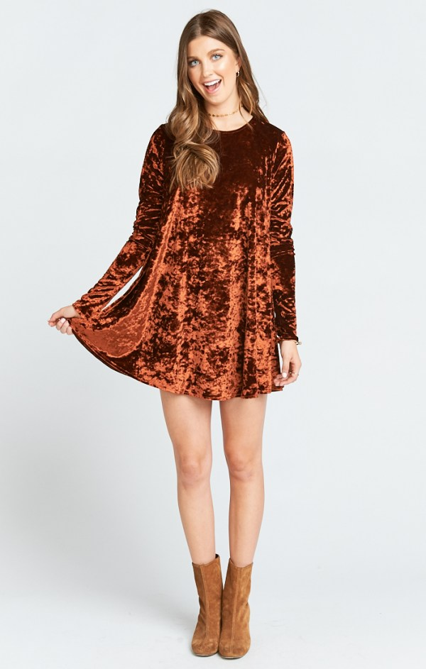 TYLER TUNIC DRESS ~ COPPER CRUSHED VELVET