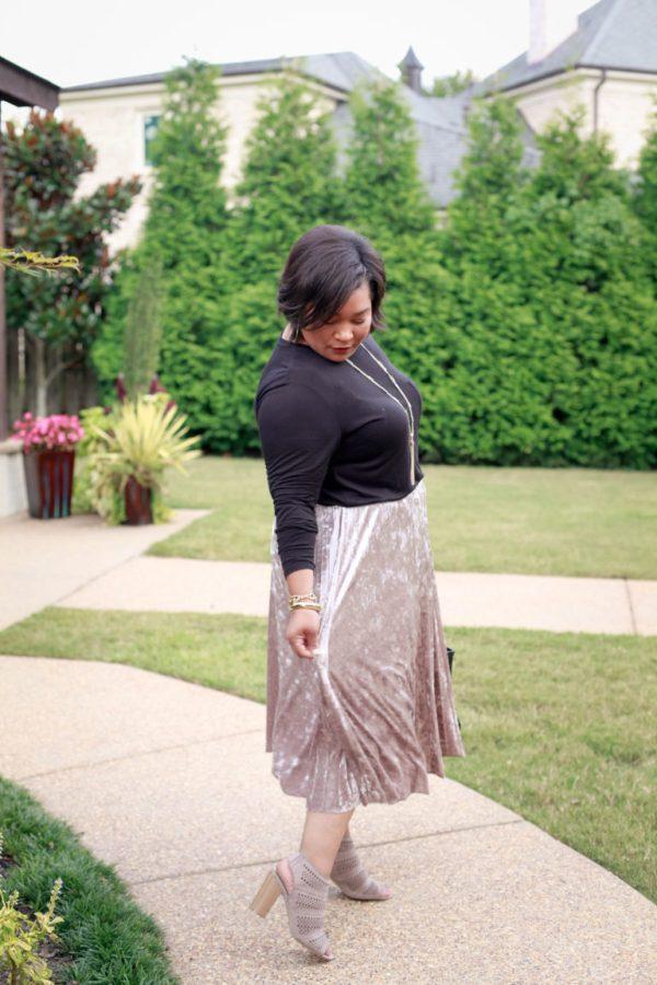 Velvet-Midi-Skirt