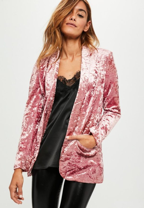 Misguided Pink Crushed Velvet Blazer