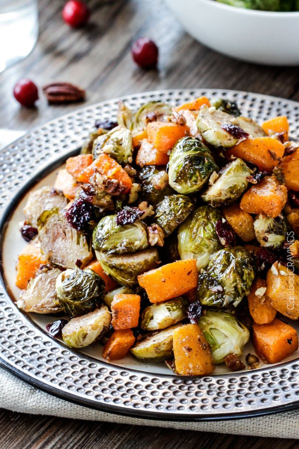 Roasted Maple Dijon Brussels Sprouts and Butternut Squash with Cranberries and Bacon
