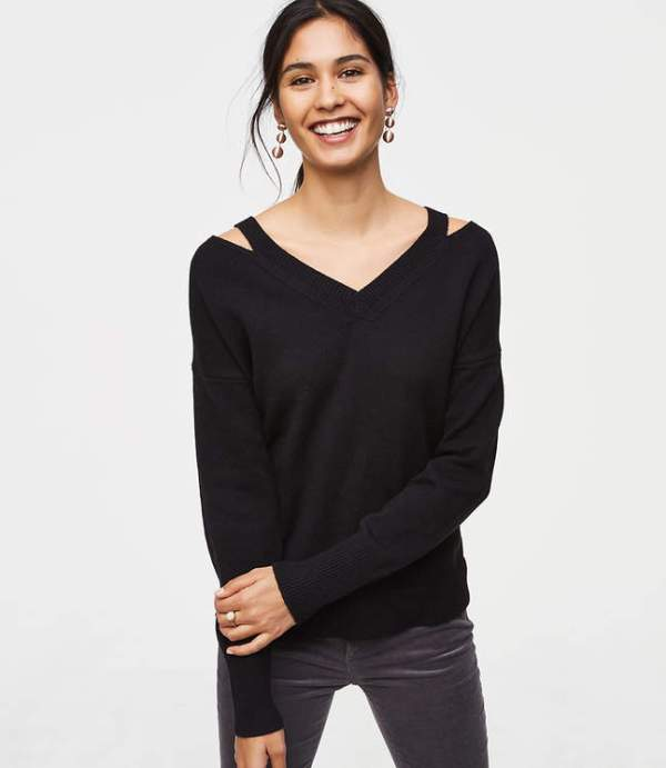 Loft Cutout V-Neck Sweater
