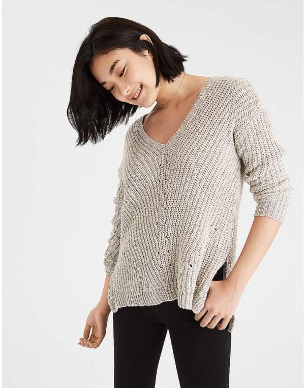 Aeo AE V-Neck Side Zip Pullover