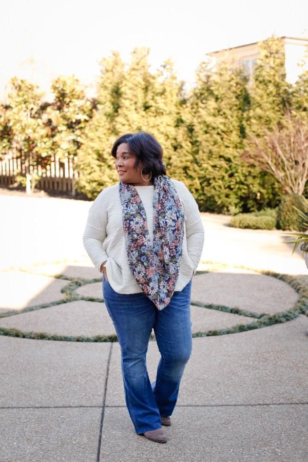 Flare Denim Cream Sweater