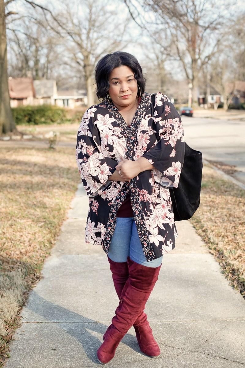 Floral Kimono + Thigh High Boots