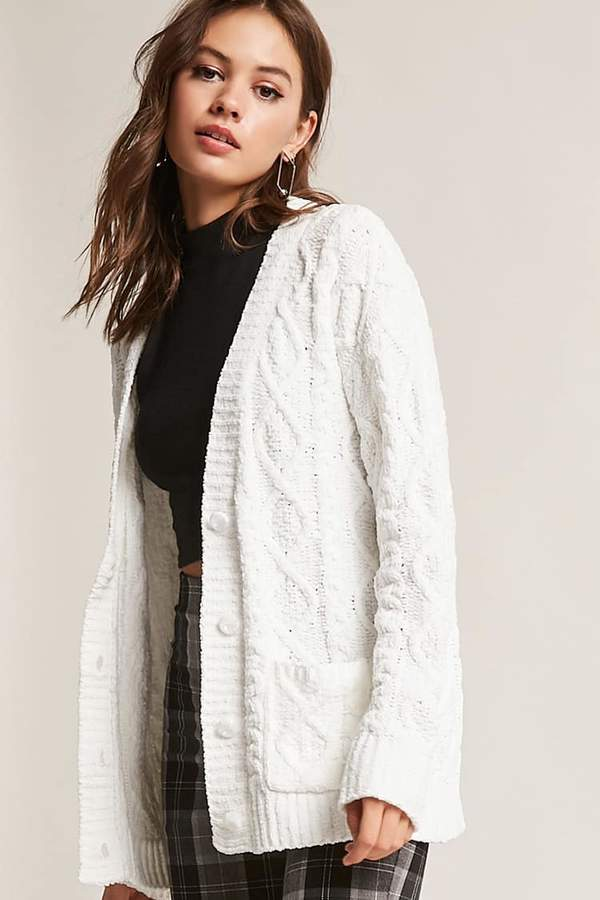 FOREVER 21 Chenille Cable-Knit Cardigan