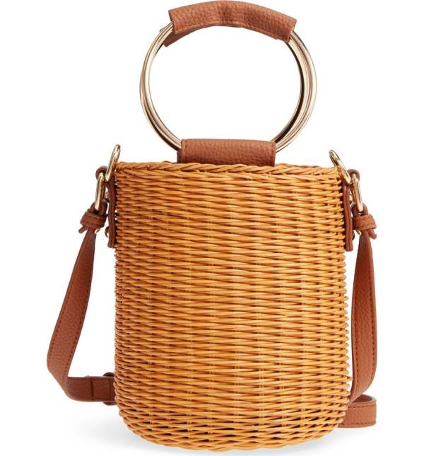 Metal Handle Straw Bucket Bag