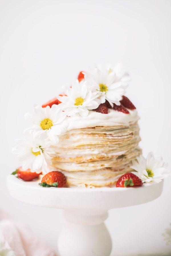Strawberry Chamomile Crepe Cake