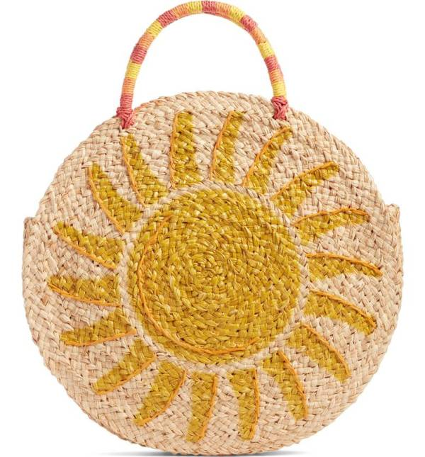 Shine Raffia Circular Tote