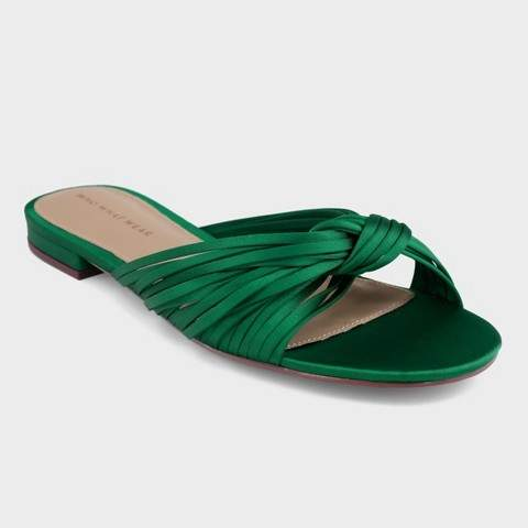 Who What Wear Grace Satin Knotted Slide Sandals