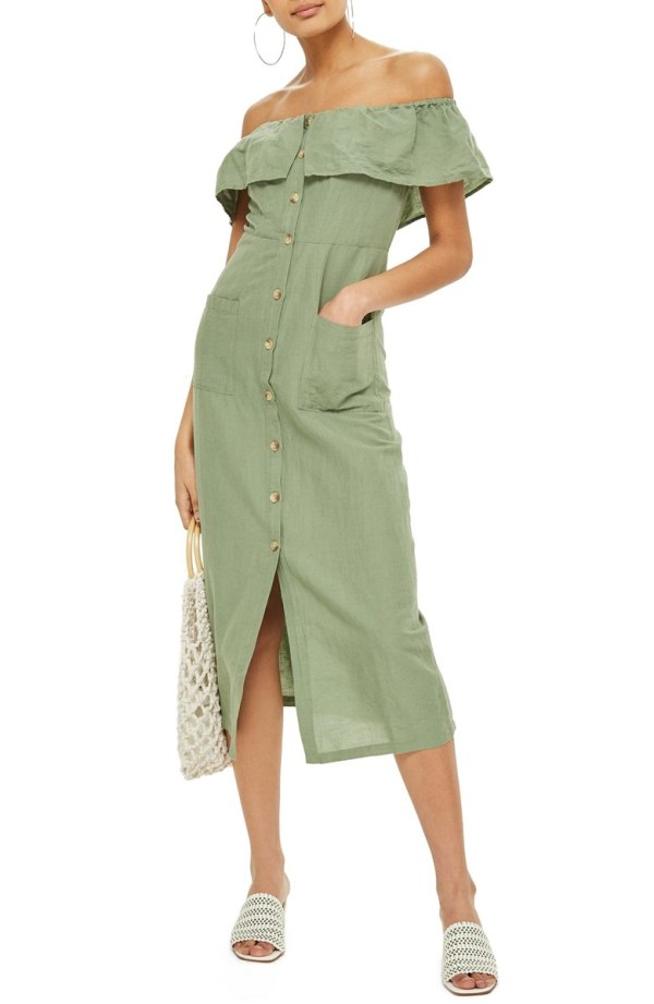 Topshop Linen Off the Shoulder Midi Dress