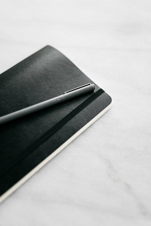 white marble black journal