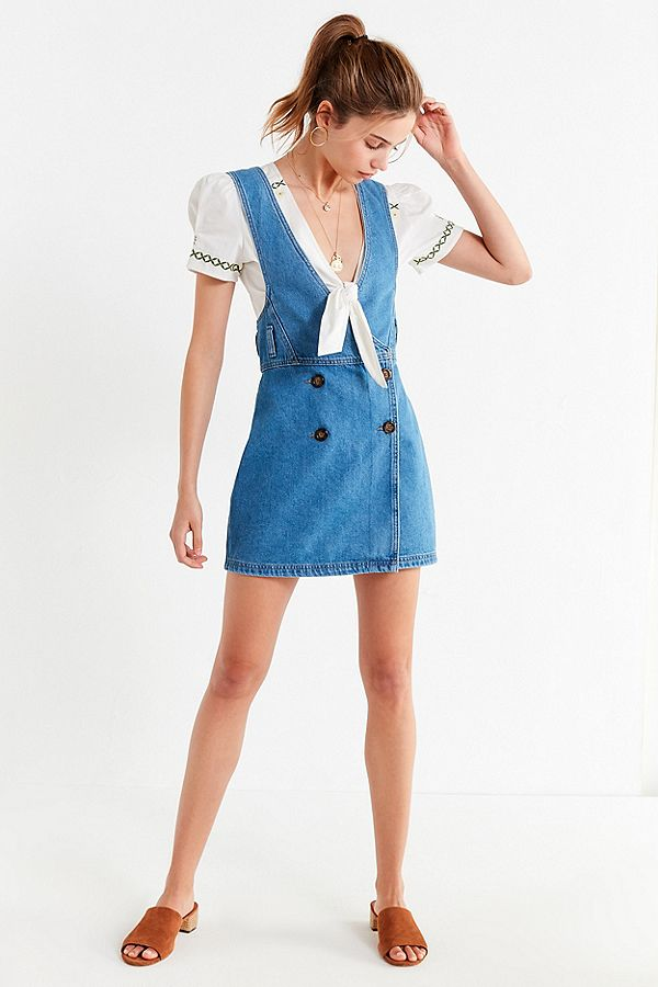 BDG Double Breasted Denim Skirtall Overall