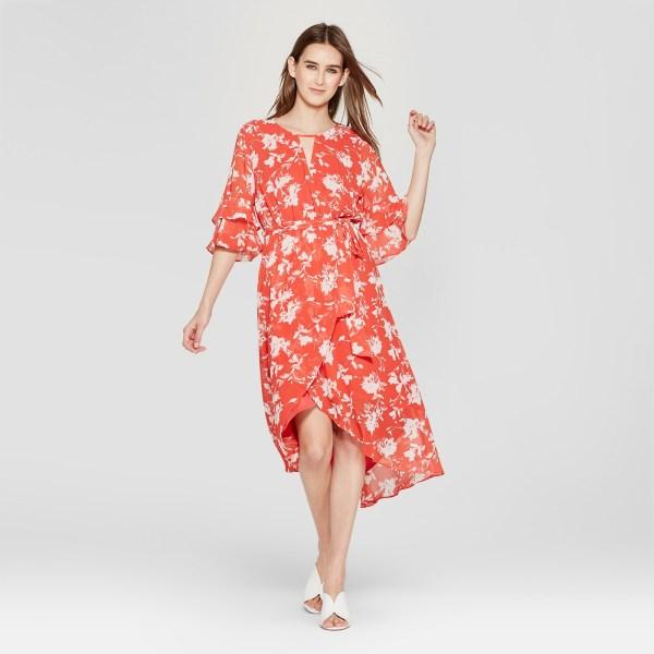 Eclair Floral Print 3-4 Sleeve Midi Dress