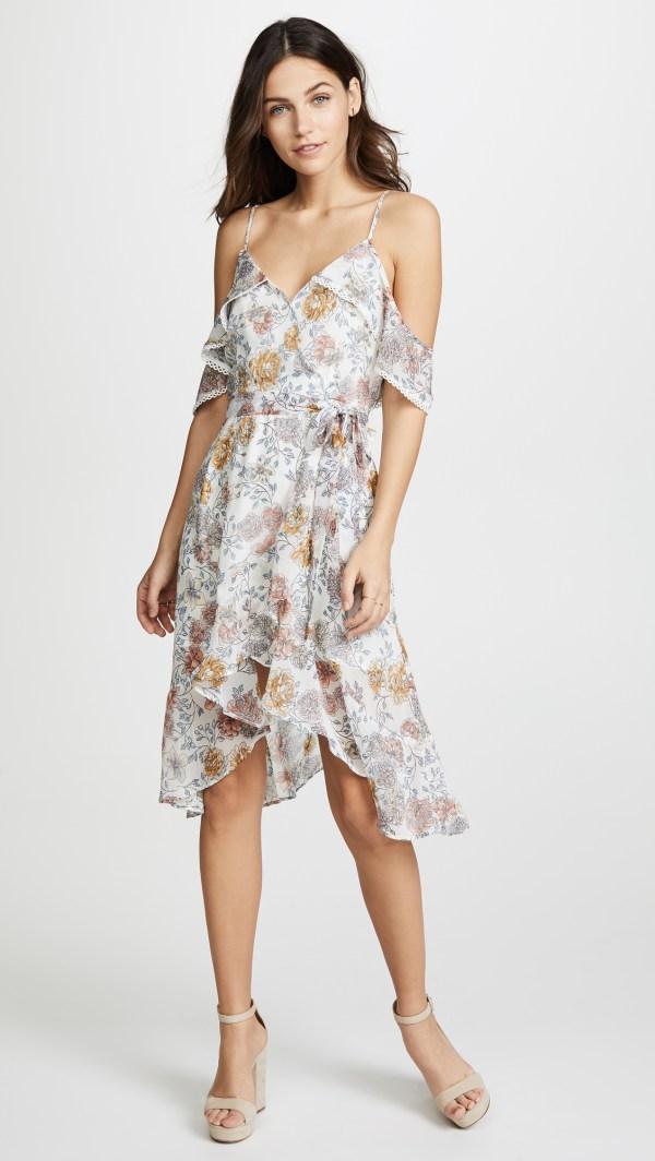 J.O.A. Floral Cold Shoulder Dress
