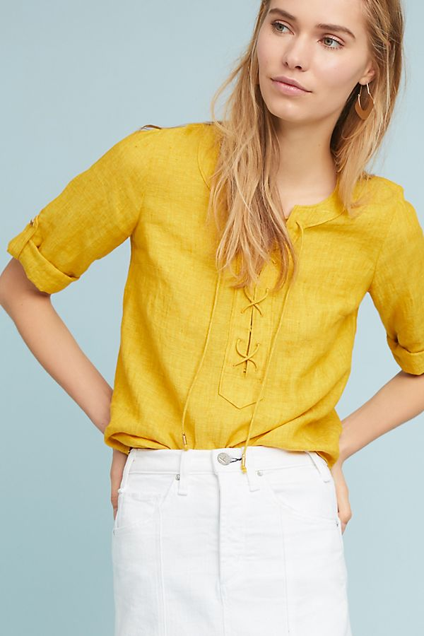 Linen Lace-Up Blouse