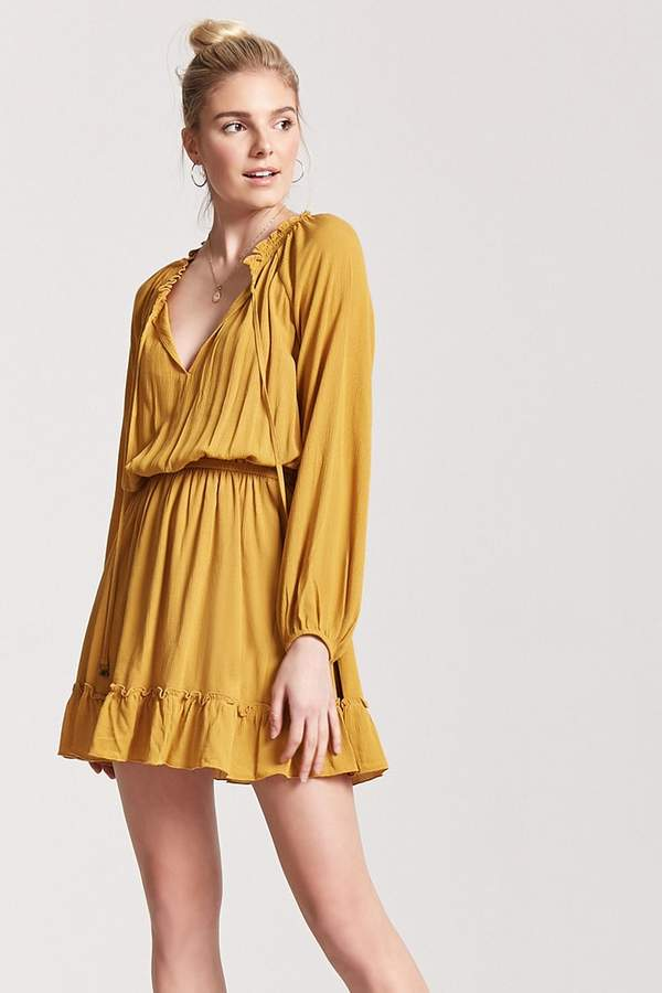 Ruffle Split-Neck Dress