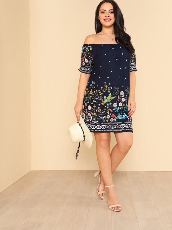 SHEIN Botanical Print Off Shoulder Dress