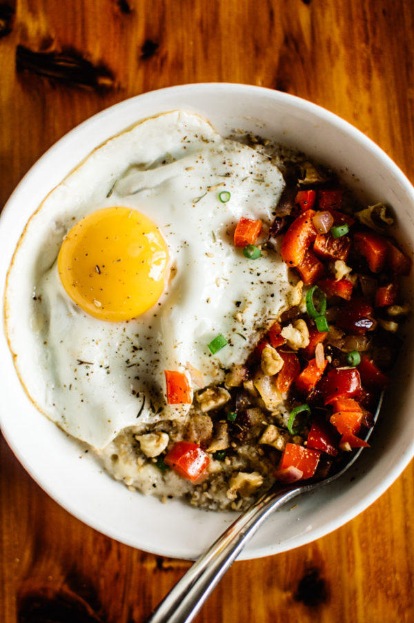 Savory Oatmeal with Cheddar and Fried Egg