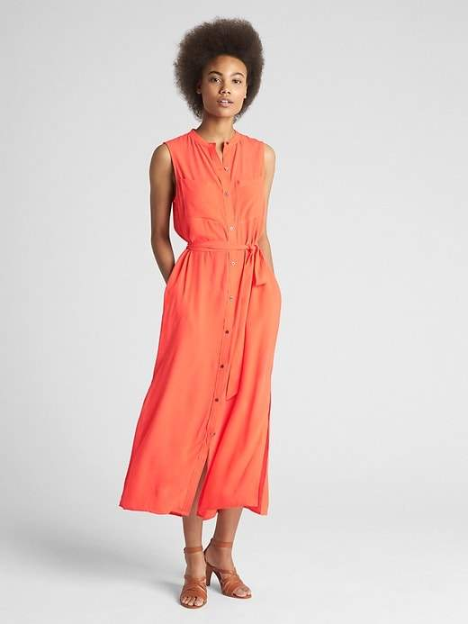 Sleeveless Utility Maxi Shirtdress