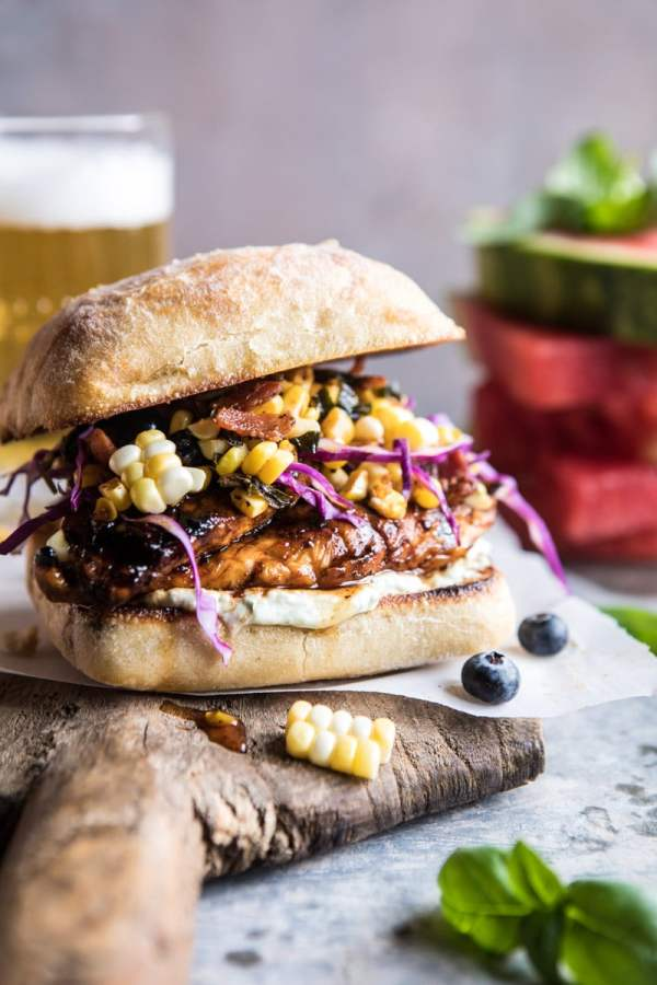 spicy maple grilled chicken sandwich with smoky bacon corn