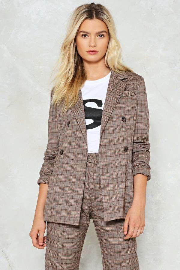 Nasty Gal Shake It Out Plaid Blazer