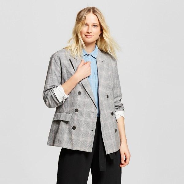Who What Wear Women's Plaid Roll-Up Cuff Poplin Blazer