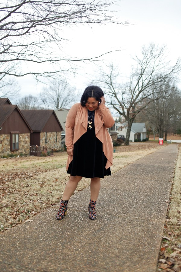 Velvet Dress + Embroidered Booties