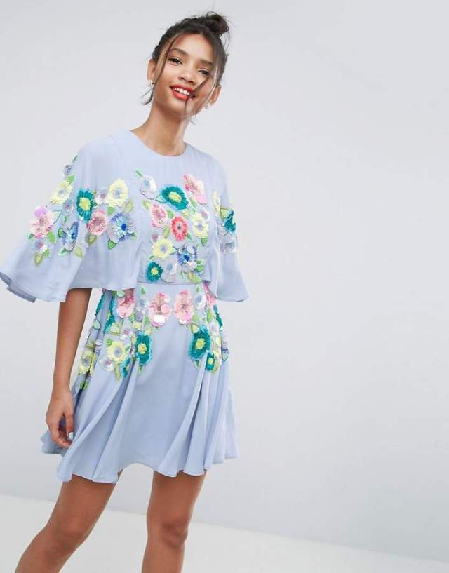 ASOS SALON 3D Sleeved Embellished Skater Dress
