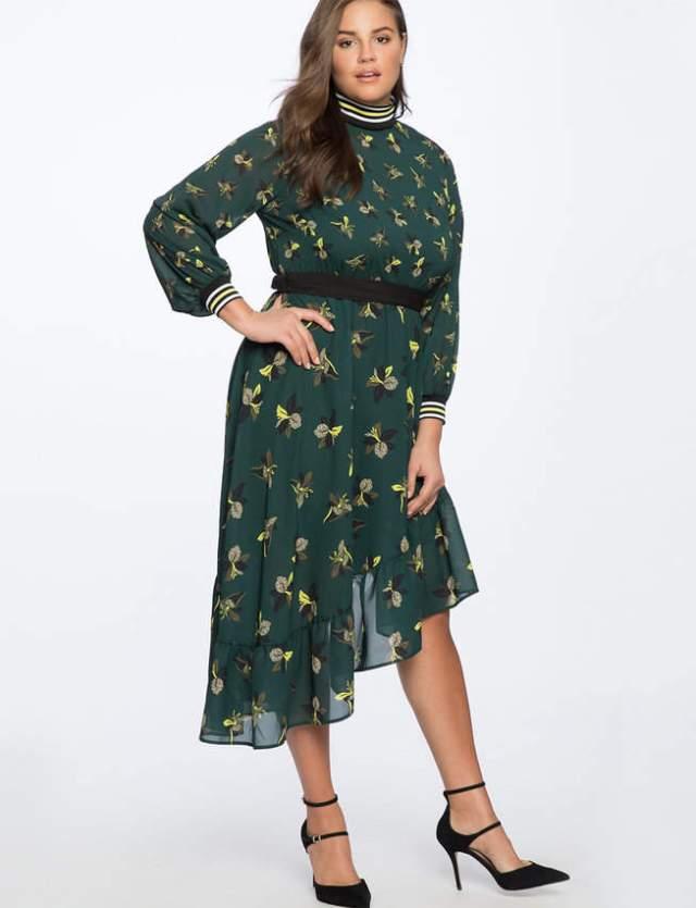 Eloquii Asym Hem Dress with Rib Trim