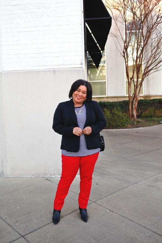 Red Pants + Black Blazer
