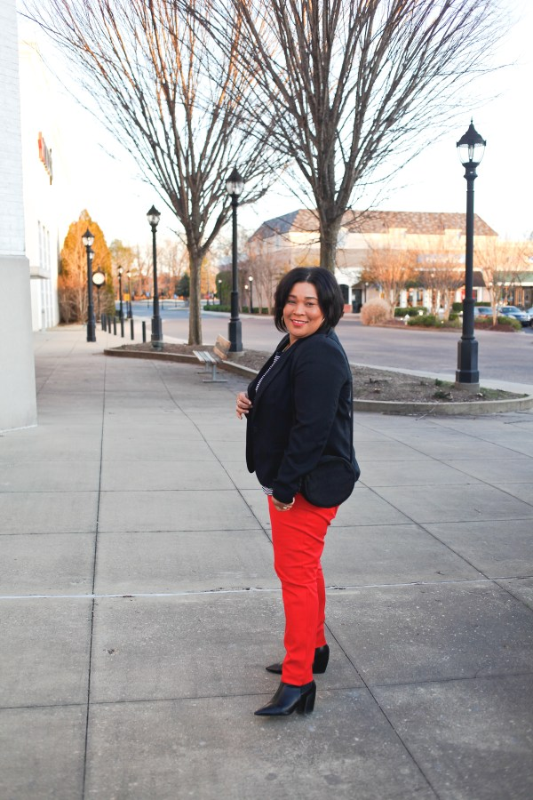 Red Pants + Black Blazer
