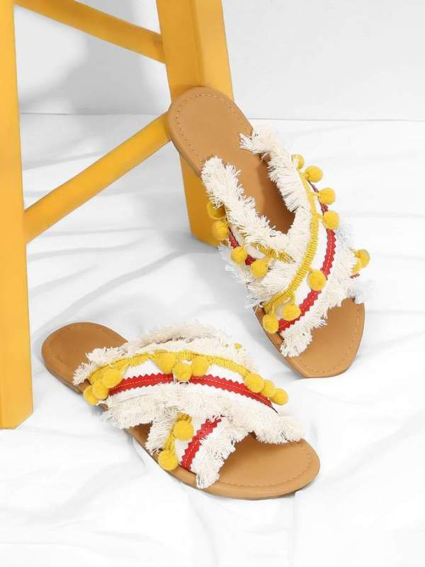 Shein Criss Cross Flat Sandals With Pom Pom