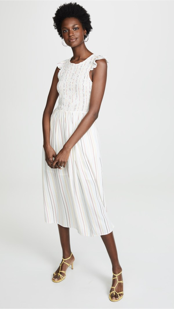 ENGLISH FACTORY Smocked Stripe Midi Dress
