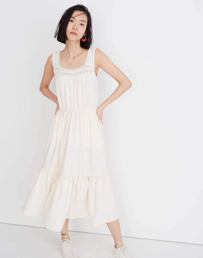 Madewell Petite Crochet-Strap Tiered Midi Dress