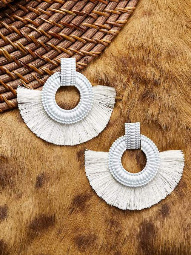 Shein Textured Circle Earrings With Half Fringe Detail