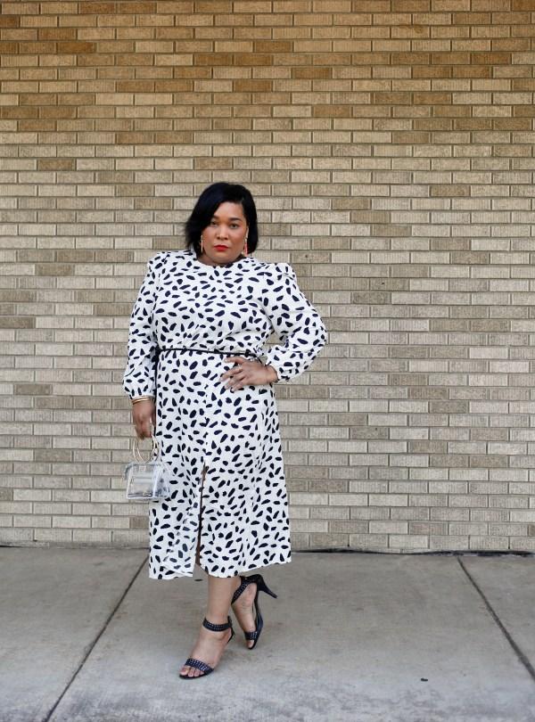 Dalmation Print Midi Dress