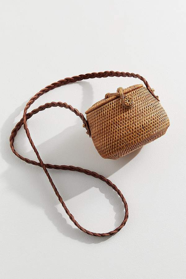 Urban Outfitters Straw Mini Flat Top Crossbody Bag