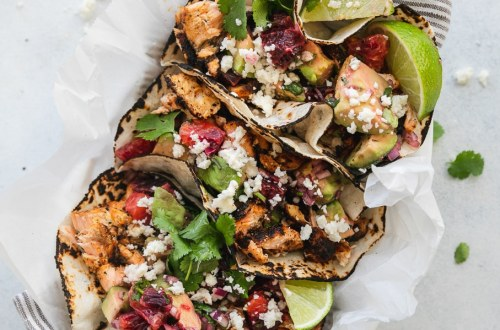 Blackened Salmon Tacos with Blood Orange Avocado Salsa