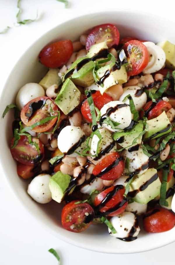 Caprese Salad with Avocado and Balsamic Glaze