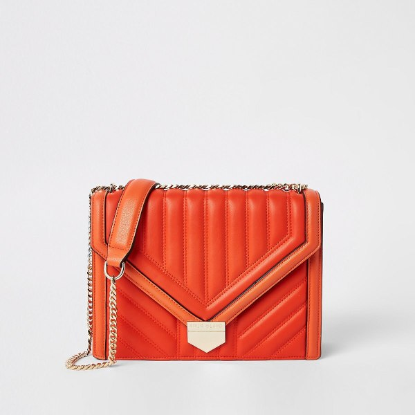 River Island Orange Quilted Cross Body Bag