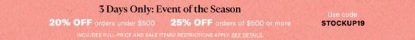 Event of the Season Shopbop Sale 2019