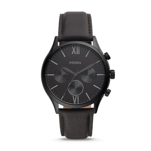 Fossil Fenmore Midsize Multifunction Black Leather Watch