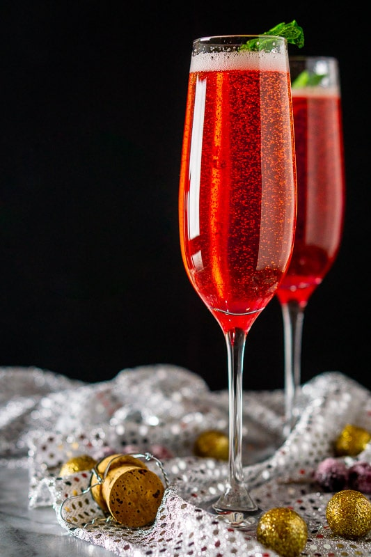 Minted Cranberry Champagne Cocktail