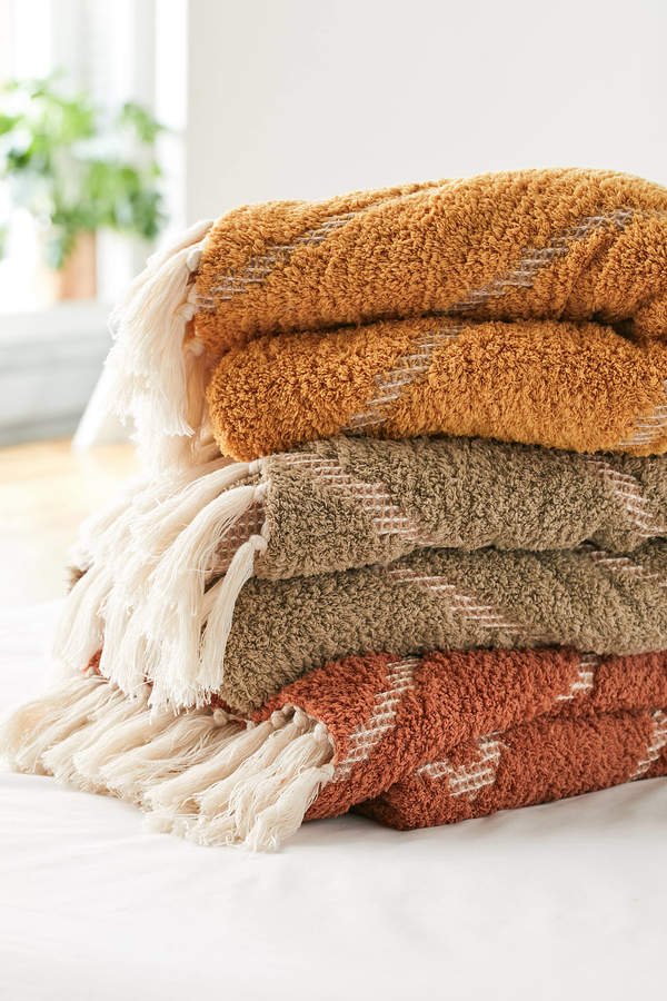 Urban Outfitters Stevie Sherpa Waffle Throw Blanket