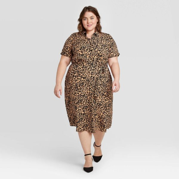 Animal Print Short Sleeve Collared Neck Shirtdress