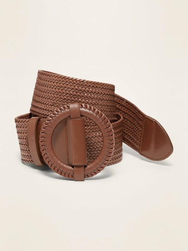 Wide Braided Faux-Leather Belt