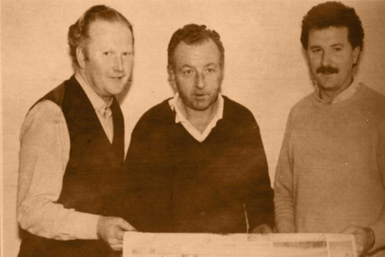 The three Kellys: Michael, Ken and Brendan checking a print in 1989.